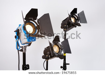 professional searchlights on shooting platform - stock photo