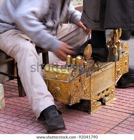 Professional shoe shine in Istanbul, - stock photo