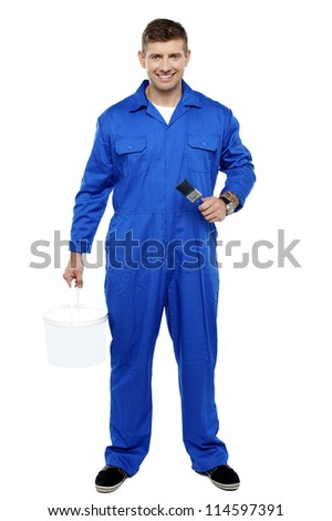 Professional smiling painter isolated over white background