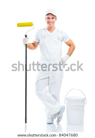 Professional smiling painter. Isolated over white background. - stock photo