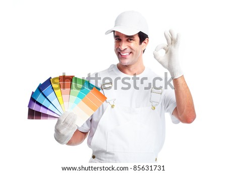 Professional smiling painter. Isolated over white background.