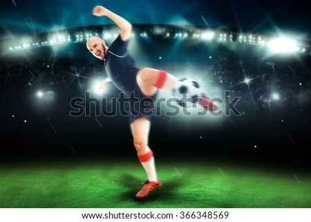 Professional soccer player in the game shoot the ball. Football player. Professional football game. Championship league.