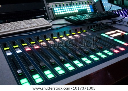 Professional sound engineer's console. Remote control for the sound engineer. Mixing consoles. Remote concert sound engineer.