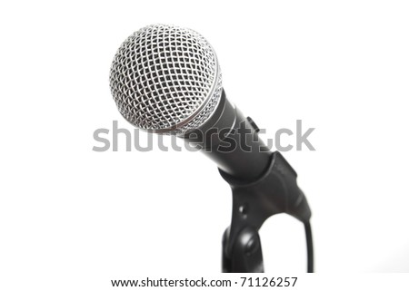 Professional sound recording equipment - black vocal microphone on stand cut out, isolated on white background