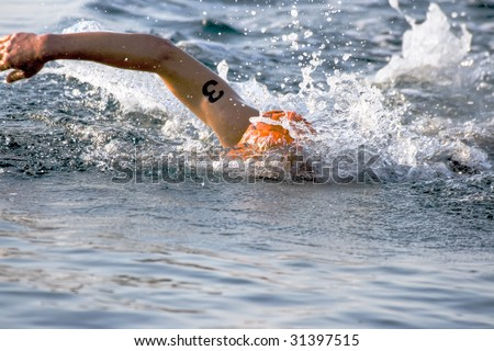 Professional sportsman swimming in the Red Sea - stock photo