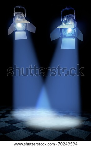 Professional stage spotlight lamps beams on black background - stock photo