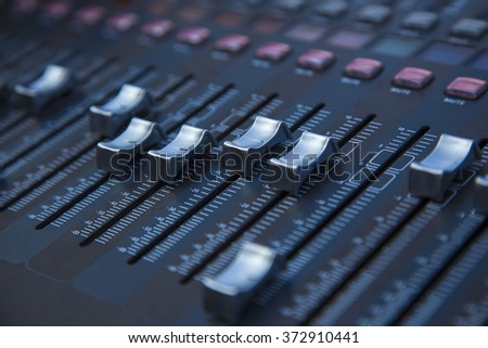 Professional studio equipment for sound mixing .