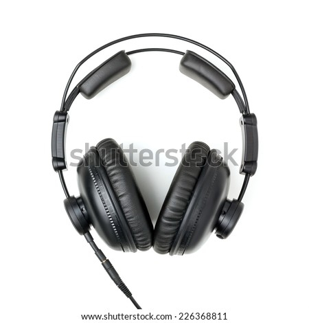 Professional studio Headphones Isolated on a White Background - stock photo