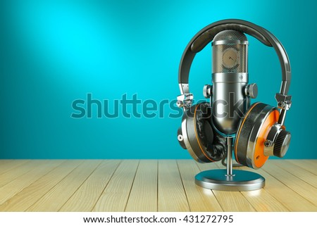 Professional studio microphone and headphones on wooden table 3d - stock photo