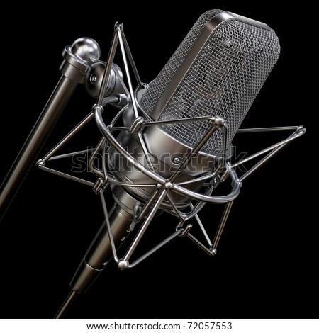 professional studio microphone isolated on a black background - stock photo