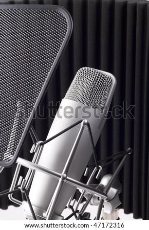 Professional studio microphone on white background - stock photo