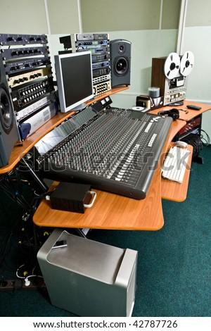 Professional studio recording equipment - stock photo