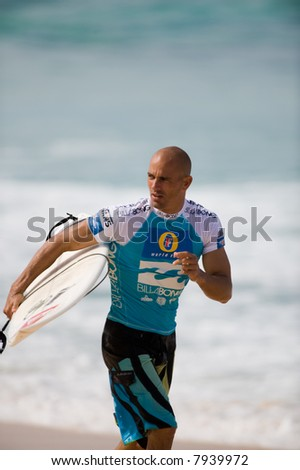 professional surfer in Pipeline masters contest (for editorial use only) - stock photo