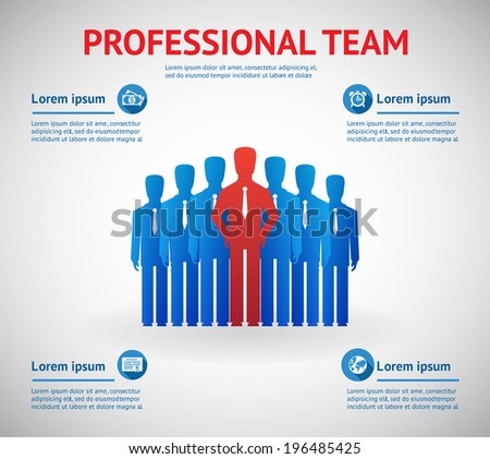 professional team concept. Silhouette of team of people with red leader - stock photo