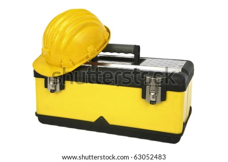 Professional toolbox with hardhat. - stock photo
