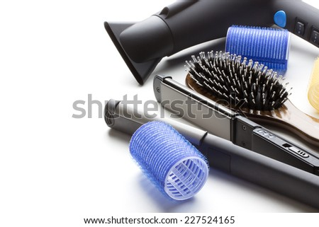 professional tools of hairdresser on white background - stock photo