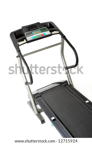 professional treadmill isolated on white background - stock photo