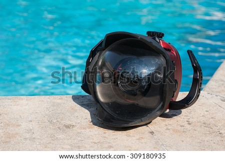 Professional underwater metal case for DSLR. - stock photo