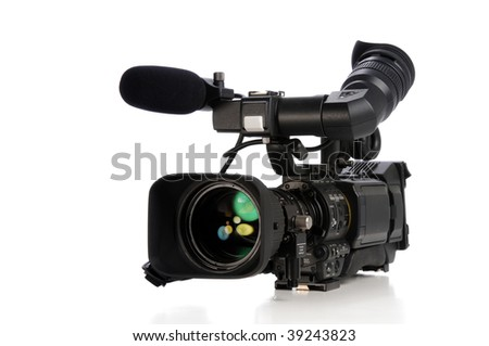 Professional video camera isolated on a white background - stock photo