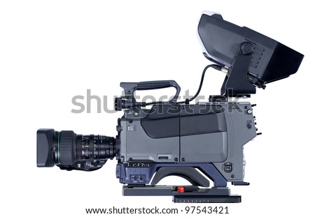 Professional video camera isolated on white background - stock photo