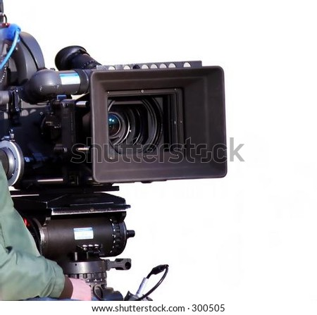 Professional video camera waiting for actors ... - stock photo