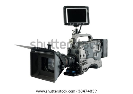 Professional Video Camera with monitor facing to you, Isolated on white