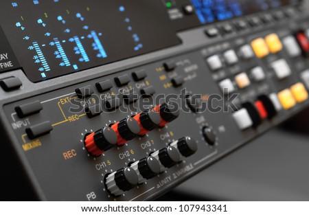 Professional video recorder. Control panel. Digital Betacam format. Shallow depth of field. - stock photo