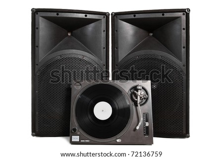 Professional vinyl record player with two large speakers on white background - stock photo