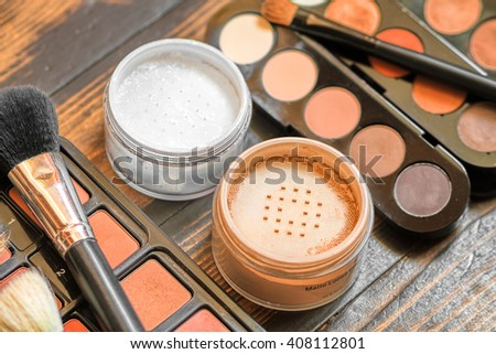 Professional visagiste workspace. Makeup tools. ?reative mess - stock photo