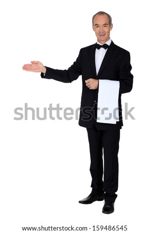 Professional waiter - stock photo