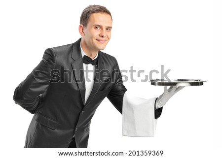 Professional waiter holding a tray isolated on white background