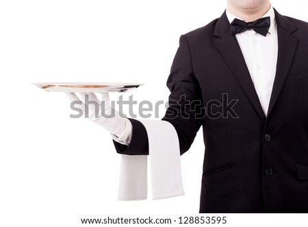Professional waiter holding an empty dish. Isolated on white background - stock photo