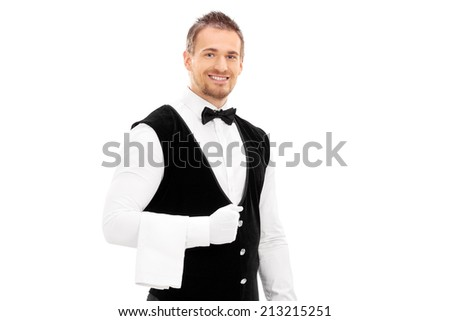Professional waiter with a towel around his arm isolated on white background - stock photo