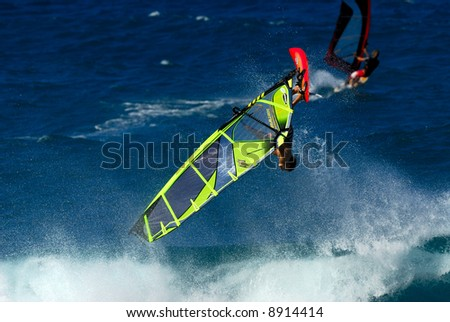 Professional windsurfing at Ho'okipa Beach, Maui, Hawaii