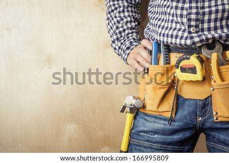 professional with tools,selective focus on nearest parts - stock photo