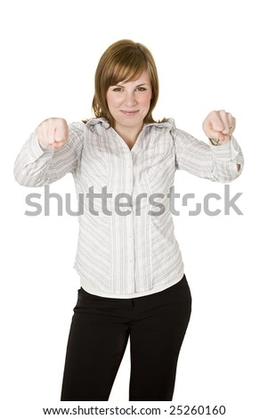 Professional woman holding up hands to lift an object - stock photo