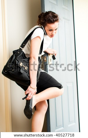 professional woman living a hectic life - stock photo
