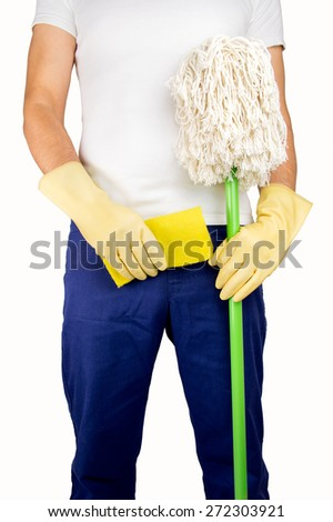 professional worker of cleaning with gloves holding the cloth and the mop - stock photo