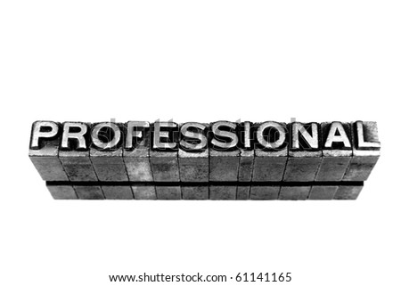 PROFESSIONAL written in metallic letters on a white background - stock photo