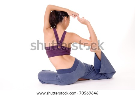 Professional yoga of Asian woman on ground isolated over white background. - stock photo