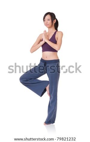Professional yoga woman exercising,  full length portrait isolated on white background. - stock photo