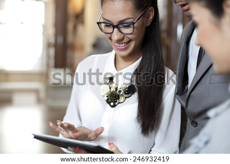 Professional young  business people near office - stock photo