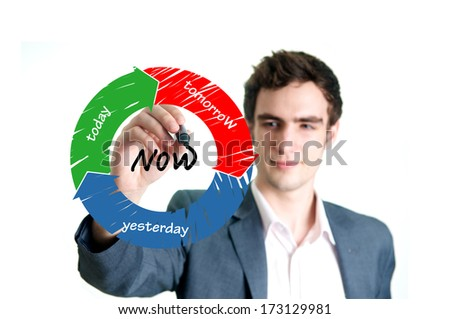Professional young man writing now time concept on the whiteboard - stock photo