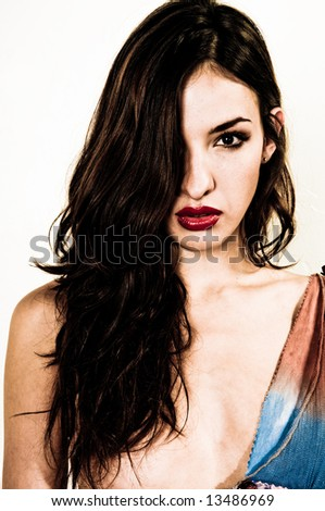 Professional young model(s), studio shoot, portraiture, fashion. - stock photo