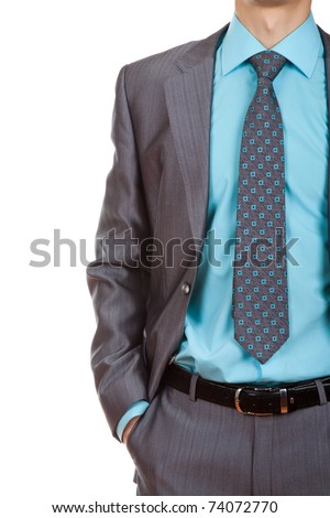 Professionally well dressed businessman, top manager isolated on white - stock photo