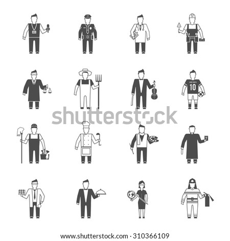 Professionals cartoon characters black icons set of reporter bishop teacher worker lawyer musician abstract isolated  illustration