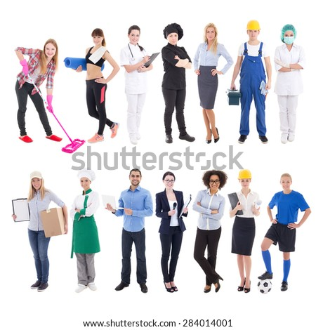 professions concept - set of different people isolated on white background - stock photo