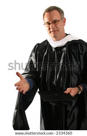 Professor explaining point at graduation - stock photo