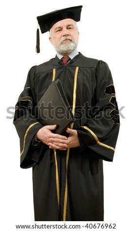 Professor in black gown on white background (isolated).