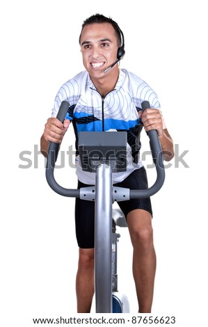 Professor of spinning on white background - stock photo